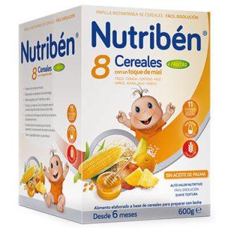 Papilla Nutribén 8 cereales con un toque de miel 4 frutas 600gr