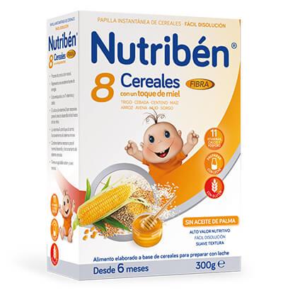 Papillas Nutribén 8 cereales miel y fibra 300gr
