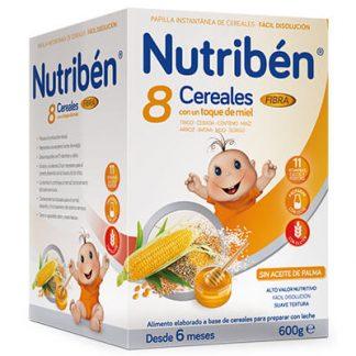 Papillas Nutribén 8 cereales miel y fibra 600gr