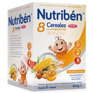 Papilla Nutribén 8 cereales con un toque de miel frutos secos