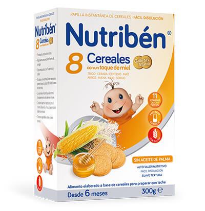 Papilla Nutribén 8 cereales con miel y galletas María