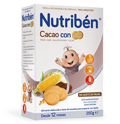 papilla Nutribén cacao con galleta maría 250 gr