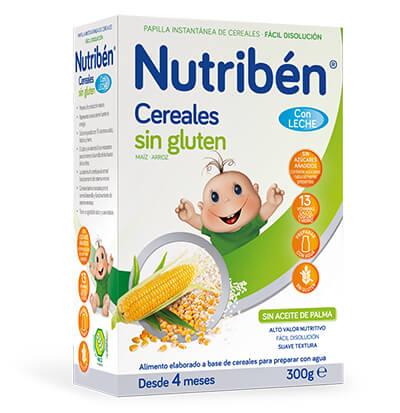 papilla Nutribén cereales sin gluten con leche adaptada