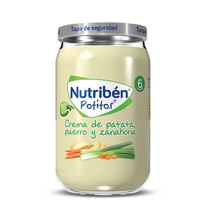 Nutribén potitos crema de patata, puerro y zanahoria