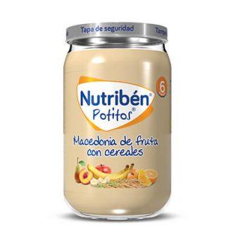 potitos de frutas variadas, comer cereales sin leche